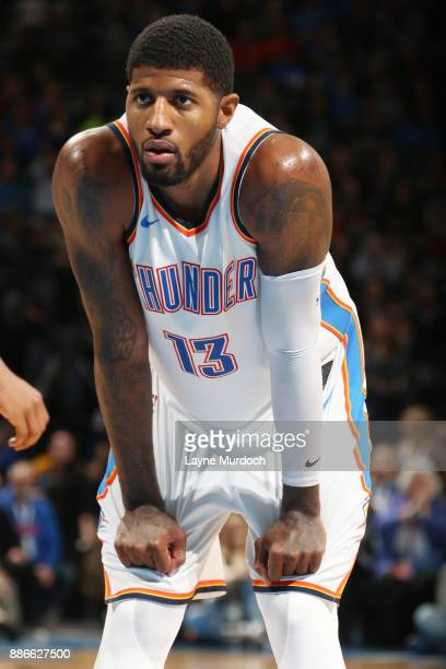 Paul George of the Oklahoma City Thunder looks on during the game against the Utah Jazz on December 5 2017 at Chesapeake Energy Arena in Oklahoma...