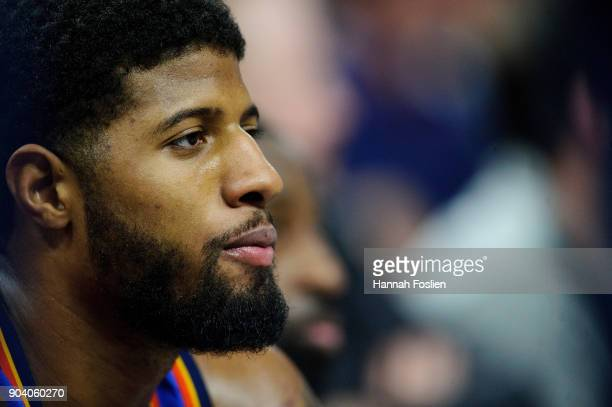 Paul George of the Oklahoma City Thunder looks on during the game against the Minnesota Timberwolves on January 10 2018 at the Target Center in...