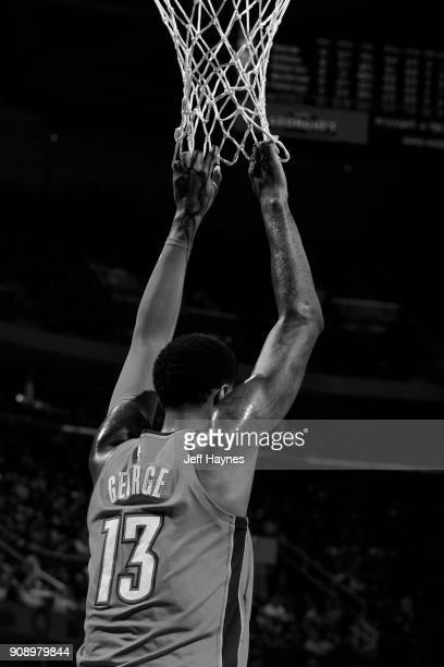 Paul George of the Oklahoma City Thunder looks on during the game against the Cleveland Cavaliers on January 20 2018 at Quicken Loans Arena in...