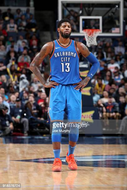Paul George of the Oklahoma City Thunder looks on during the game against the Memphis Grizzlies on February 14 2018 at FedExForum in Memphis...