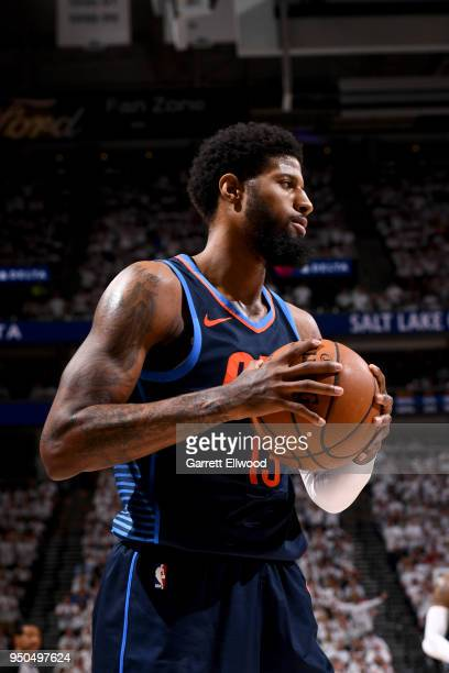 Paul George of the Oklahoma City Thunder looks on during the game against the Utah Jazz in Game Four of Round One of the 2018 NBA Playoffs on April...