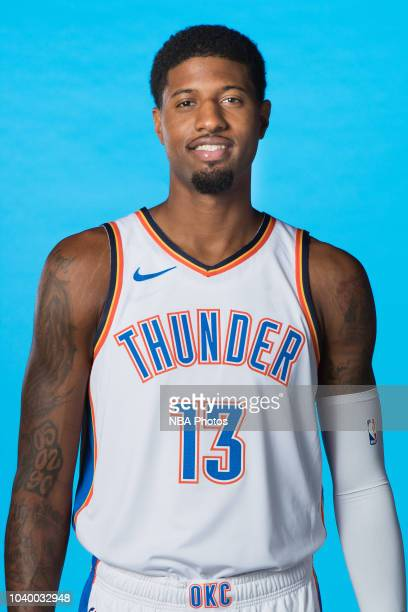 Paul George of the Oklahoma City Thunder poses for a head shot during media day at Chesapeake Energy Arena on September 24 2018 in Oklahoma City...