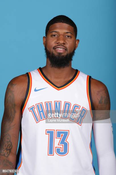 Paul George of the Oklahoma City Thunder poses for a portrait during 2017 NBA Media Day on September 25 2017 at the Chesapeake Energy Arena in...