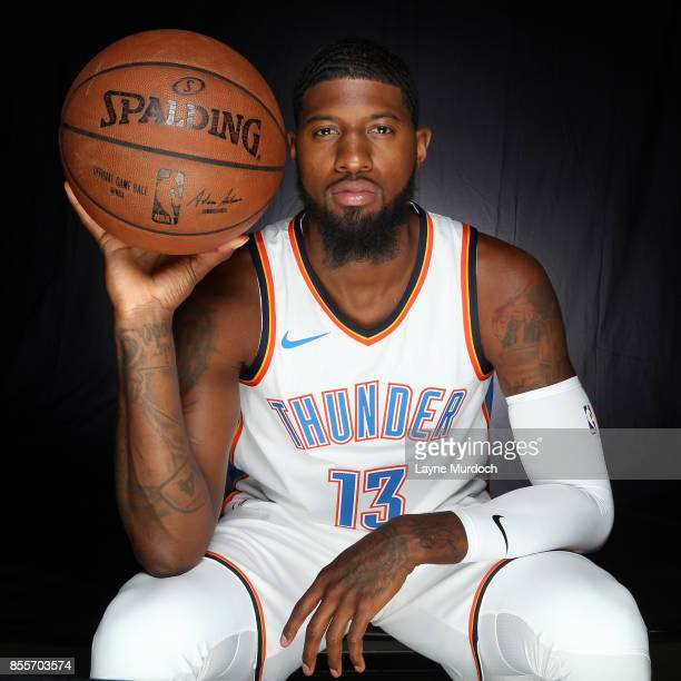 Paul George of the Oklahoma City Thunder poses for a portrait during the 2017 NBA Media Day on September 25 2017 at the Chesapeake Energy Arena in...