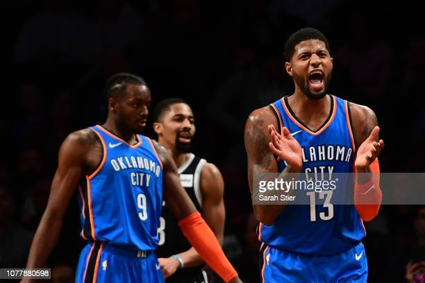 Paul George of the Oklahoma City Thunder reacts after a call during the fourth quarter of the game against Brooklyn Nets at Barclays Center on...