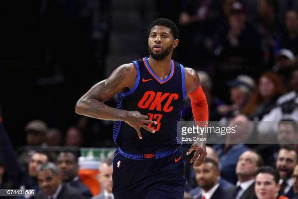 Paul George of the Oklahoma City Thunder reacts after making a threepoint basket against the Sacramento Kings at Golden 1 Center on December 19 2018...