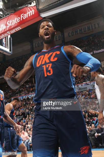 Paul George of the Oklahoma City Thunder reacts against the Memphis Grizzlies on February 11 2018 at Chesapeake Energy Arena in Oklahoma City...