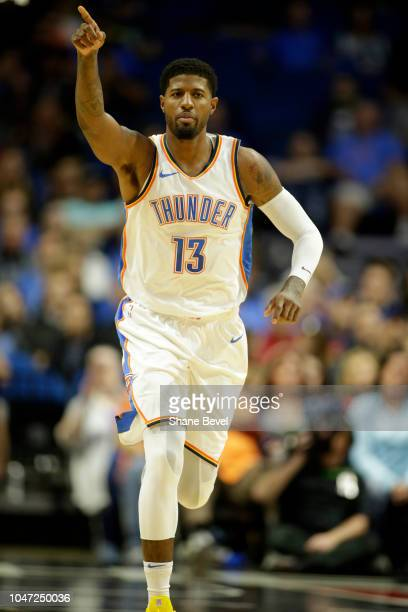 Paul George of the Oklahoma City Thunder reacts during a preseason game against Atlanta Hawks on October 7 2018 at BOK Center in Tulsa Oklahoma NOTE...