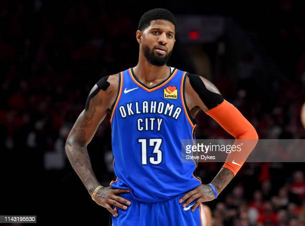 Paul George of the Oklahoma City Thunder reacts to an officials call during the second half of Game Two of the Western Conference quarterfinals...