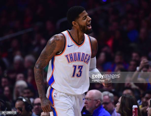 Paul George of the Oklahoma City Thunder reacts to his three pointer during a 127117 win over the LA Clippers at Staples Center on January 4 2018 in...