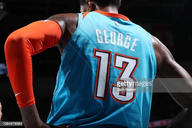 Paul George of the Oklahoma City Thunder seen on court during the game against the Denver Nuggets on November 24 2018 at Chesapeake Energy Arena in...