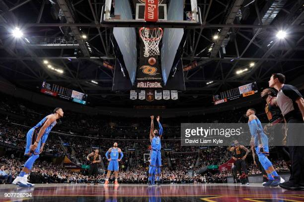 Paul George of the Oklahoma City Thunder shoots a free throw against the Cleveland Cavaliers on January 20 2018 at Quicken Loans Arena in Cleveland...