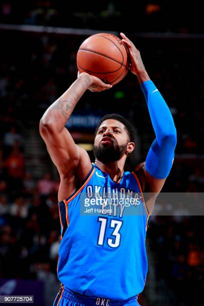 Paul George of the Oklahoma City Thunder shoots a free throw during the game against the Cleveland Cavaliers on January 20 2018 at Quicken Loans...