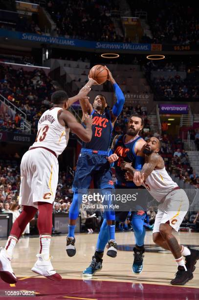 Paul George of the Oklahoma City Thunder shoots the ball against the Cleveland Cavaliers on November 7 2018 at Quicken Loans Arena in Cleveland Ohio...
