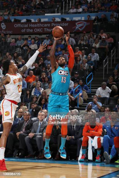 Paul George of the Oklahoma City Thunder shoots the ball against the Atlanta Hawks on November 30 2018 at Chesapeake Energy Arena in Oklahoma City...