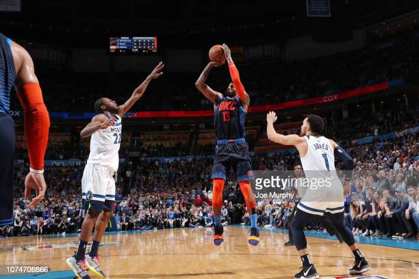 Paul George of the Oklahoma City Thunder shoots the ball against the Minnesota Timberwolves on December 23 2018 at Chesapeake Energy Arena in...