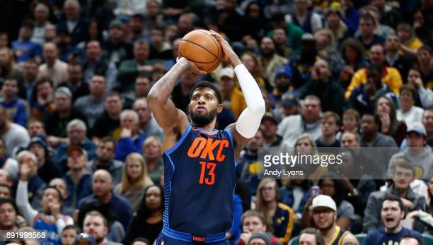 Paul George of the Oklahoma City Thunder shoots the ball against the Indiana Pacers at Bankers Life Fieldhouse on December 13 2017 in Indianapolis...