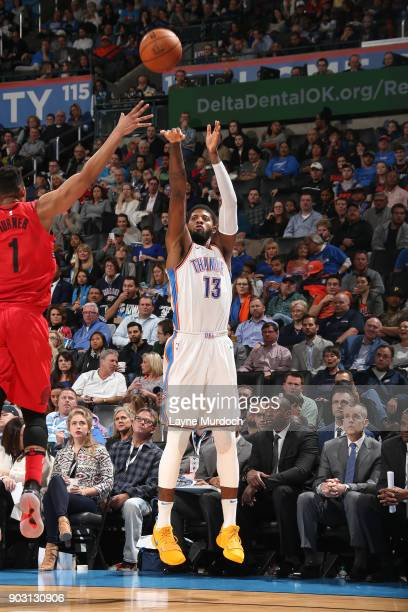 Paul George of the Oklahoma City Thunder shoots the ball against the Portland Trail Blazers on January 9 2018 at Chesapeake Energy Arena in Oklahoma...