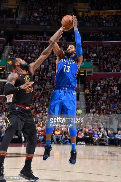 Paul George of the Oklahoma City Thunder shoots the ball against the Cleveland Cavaliers on January 20 2018 at Quicken Loans Arena in Cleveland Ohio...