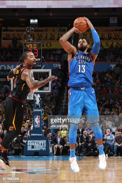 Paul George of the Oklahoma City Thunder shoots the ball against the Cleveland Cavaliers on February 13 2018 at Chesapeake Energy Arena in Oklahoma...