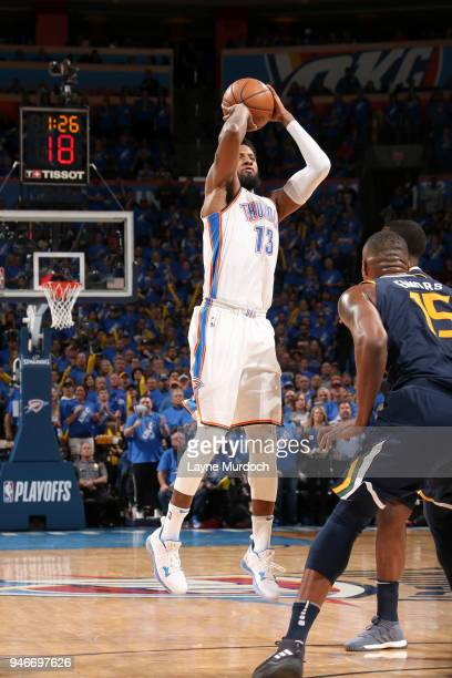 Paul George of the Oklahoma City Thunder shoots the ball against the Utah Jazz during Game One of Round One of the 2018 NBA Playoffs on April 15 2018...