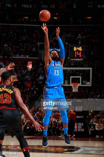 Paul George of the Oklahoma City Thunder shoots the ball during the game against the Cleveland Cavaliers on January 20 2018 at Quicken Loans Arena in...