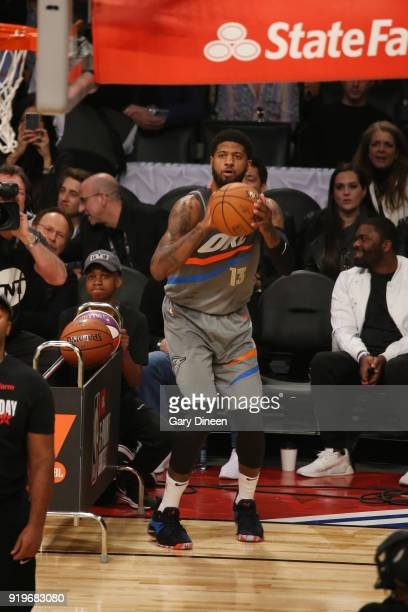 Paul George of the Oklahoma City Thunder shoots the ball during the JBL ThreePoint Contest during State Farm AllStar Saturday Night as part of the...