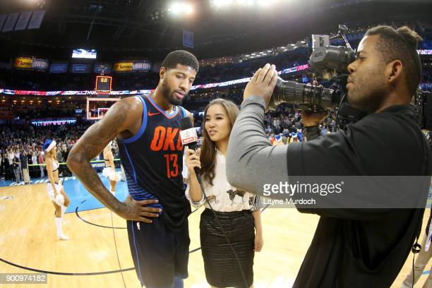 Paul George of the Oklahoma City Thunder speaks with the media after the game against the Houston Rockets on December 25 2017 at Chesapeake Energy...