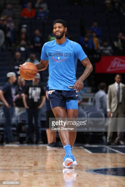 Paul George of the Oklahoma City Thunder warms up before the game against the Minnesota Timberwolves on January 10 2018 at Target Center in...