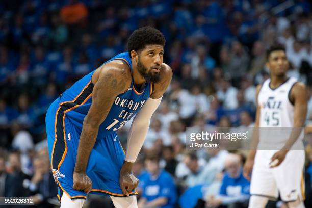 Paul George of the Oklahoma City Thunder watches action against the utah Jazz during game 5 of the Western Conference playoffs at the Chesapeake...