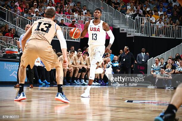 Paul George of the USA Basketball Men's National Team brings the ball up court against Argentina on July 22 2016 at TMobile Arena in Las Vegas Nevada...