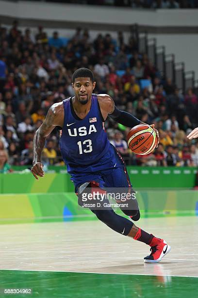 Paul George of the USA Basketball Men's National Team drives to the basket against Australia on Day 5 of the Rio 2016 Olympic Games on August 10,...