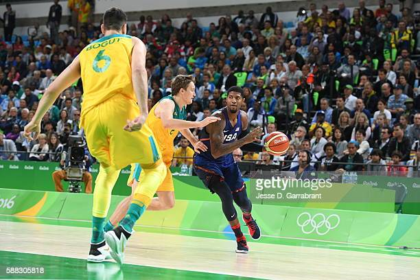 Paul George of the USA Basketball Men's National Team drives to the basket against Australia on Day 5 of the Rio 2016 Olympic Games on August 10 2016...