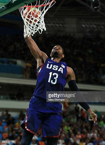 Paul George of United States dunks the ball against Serbia during the Men's Gold medal game on Day 16 of the Rio 2016 Olympic Games at Carioca Arena...