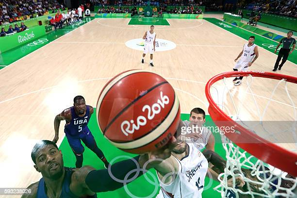 Paul George of United States makes a layup during the Men's Gold medal game on Day 16 of the Rio 2016 Olympic Games at Carioca Arena 1 on August 21...