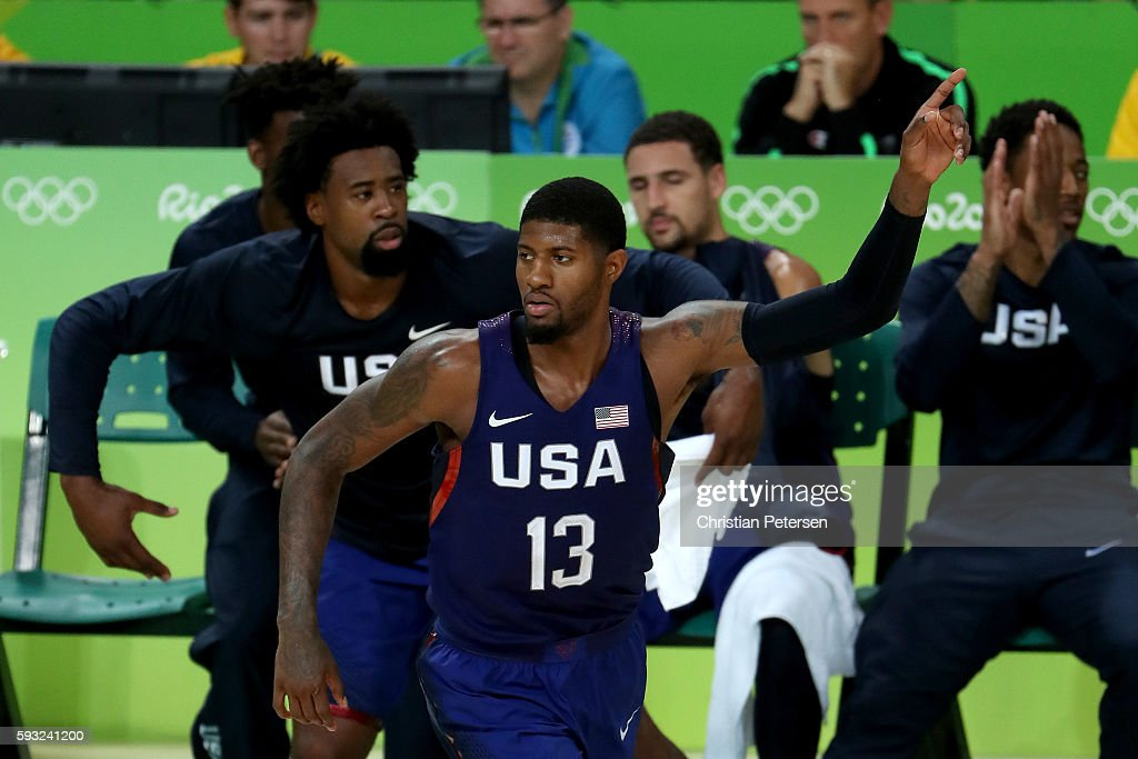 Paul George #13 of United States reacts after a shot against Serbia during the Men's Gold medal game on Day 16 of the Rio 2016 Olympic Games at Carioca Arena 1 on August 21, 2016 in Rio de Janeiro, Brazil.