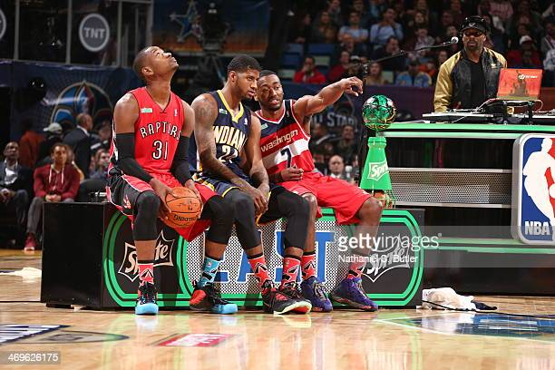 Paul George Terrence Ross and John Wall during the Sprite Slam Dunk Contest on State Farm AllStar Saturday Night as part of the 2014 AllStar Weekend...