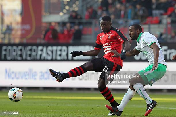 Paul Georges Ntep of Rennes and Kevin Theophile Catherine of Saint-Etienne during the Ligue 1 match between Stade Rennais and AS Saint-Etienne at...