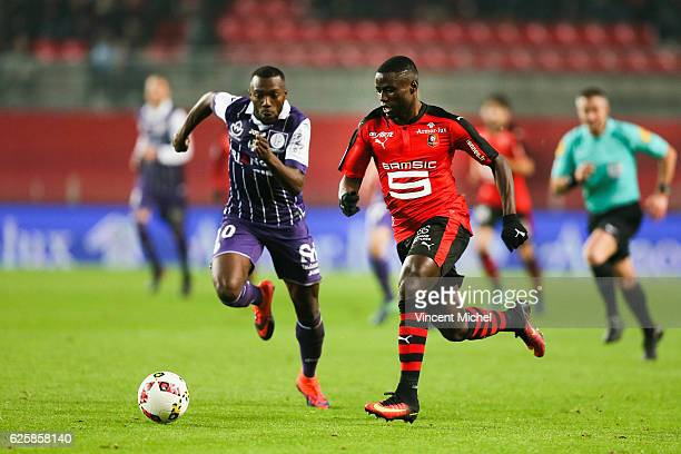Paul Georges Ntep of Rennes during the French Ligue 1 match between Rennes and Toulouse at Roazhon Park on November 25, 2016 in Rennes, France.