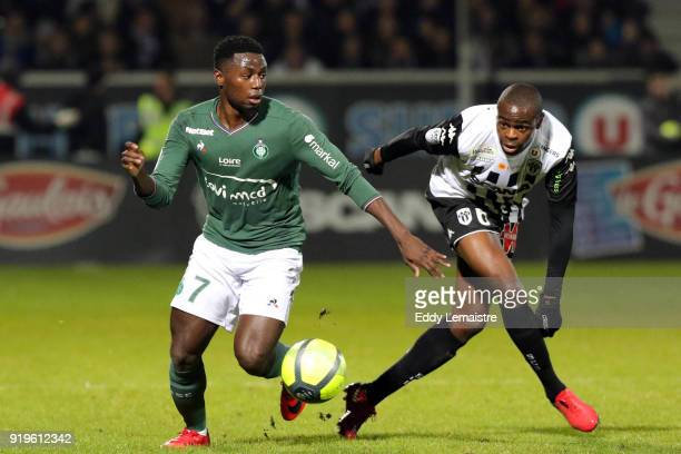 Paul Georges NTep of Saint Etienne and Prince Oniangue of Angers during the Ligue 1 match between Angers SCO and AS SaintEtienne at Stade Raymond...