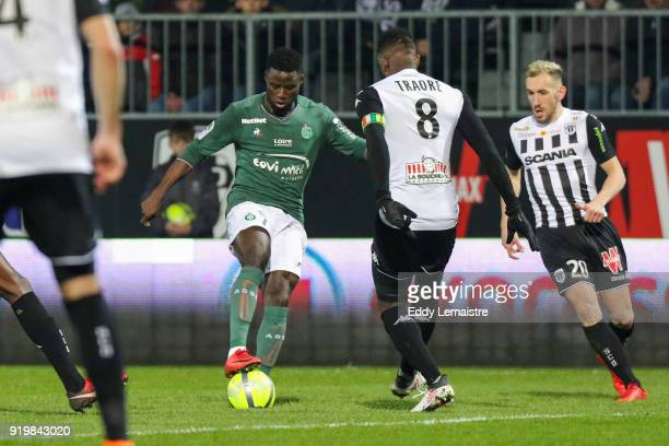 Paul Georges Ntep of Saint Etienne during the Ligue 1 match between Angers SCO and AS SaintEtienne at Stade Raymond Kopa on February 17 2018 in Angers