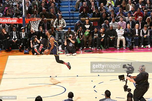 Paul Geroge Dunks during the Sprite Slam Dunk Contest on State Farm AllStar Saturday Night as part of the 2014 AllStar Weekend at Smoothie King...