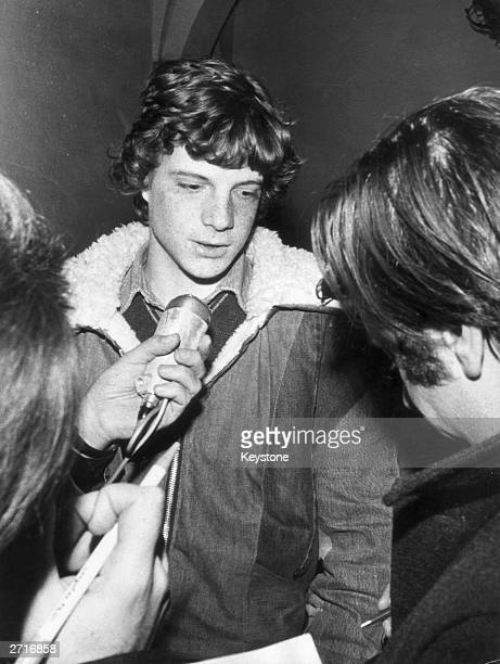 Paul Getty III being interviewed by the press on leaving a police station following the arrest of the men responsible for kidnapping him