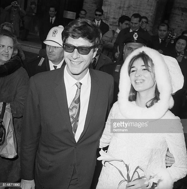 Paul Getty Jr and Talitha Pol just after getting married at Rome's City Hall Italy 1966
