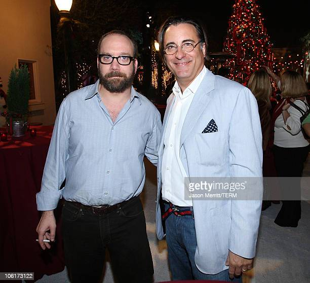 Paul Giamatti and Andy Garcia at the premiere after party for Warner Bros' 'Fred Claus' at The Lot on November 3 2007 in Los Angeles California