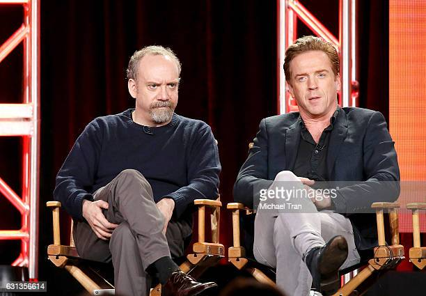 Paul Giamatti and Damian Lewis for the television show Billions speak onstage during the 2017 Winter TCA Tour Panels CBS And Showtime held at The...