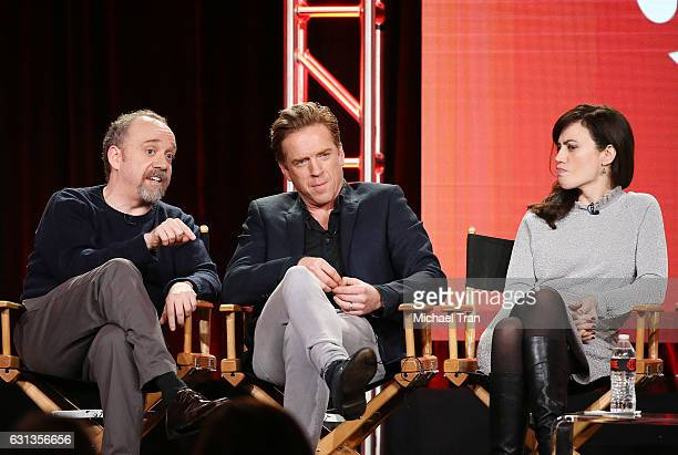 Paul Giamatti Damian Lewis and Maggie Siff for the television show Billions speak onstage during the 2017 Winter TCA Tour Panels CBS And Showtime...