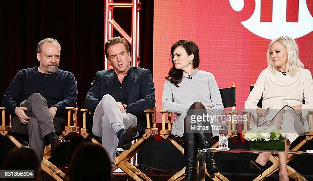 Paul Giamatti Damian Lewis Maggie Siff Malin Akerman for the television show Billions speak onstage during the 2017 Winter TCA Tour Panels CBS And...