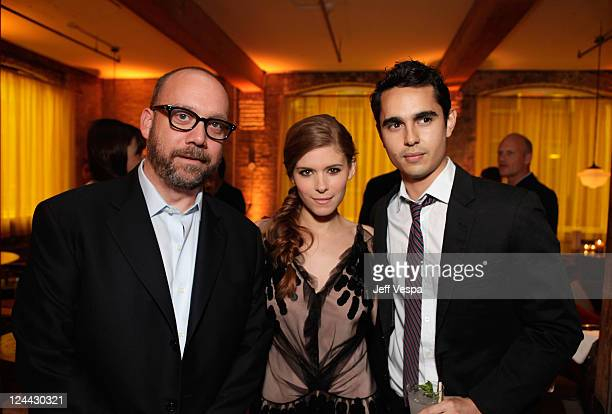 Paul Giamatti Kate Mara and Max Minghella attend 'The Ides of March' party hosted by GREY GOOSE Vodka at Soho House Pop Up Club during the 2011...