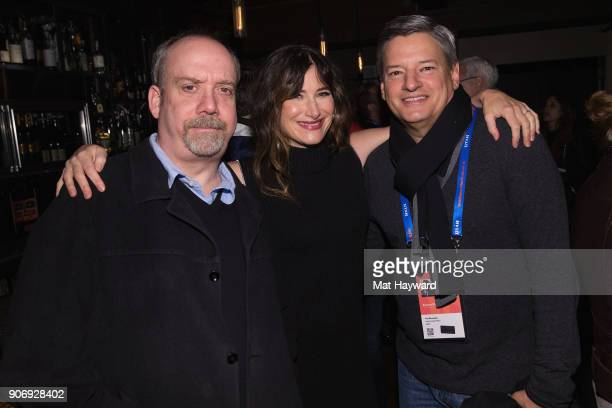 Paul Giamatti Kathryn Hahn and Ted Sarandos attend the 'Private Life' Filmmaker Cocktail reception hosted by Netflix on January 18 2018 in Park City...